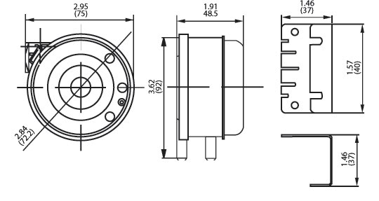 104 Low-Cost Differential Pressure Switch Dimensional Drawing