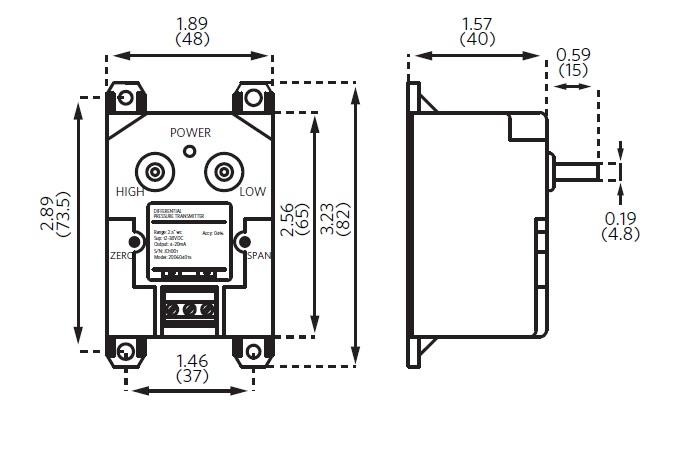 211 Differential Pressure Transmitter Dimensional Drawing