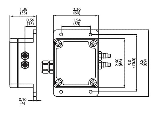212 Weather-Proof Differential Pressure Transmitter Dimensional Drawing
