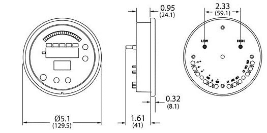 A Series Digital Differential Pressure Gauge Dimensional Drawing