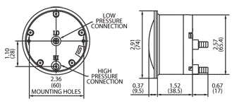 S-5000 Miniature Low-Cost Differential Pressure Gauge Dimensional Drawing