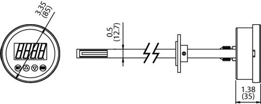 VTP Multi-Range Air Velocity / Temperature / Pressure Transmitter Dimensional Drawing
