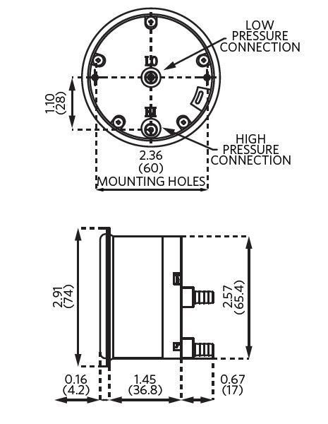 Sz-5000 Miniature Low-Cost Differential Pressure Gauge Dimensional Drawing